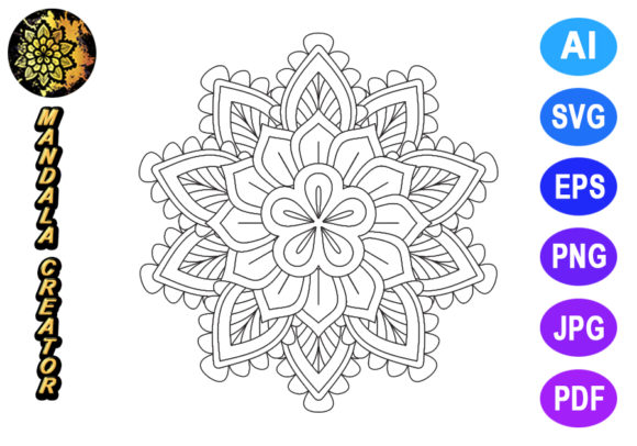 Mandala Vector Pattern Graphic Coloring Pages & Books Adults By V-Design Creator