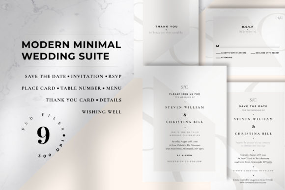 Download Free Modern Minimal Wedding Suite Graphic By Azka Creative Creative for Cricut Explore, Silhouette and other cutting machines.