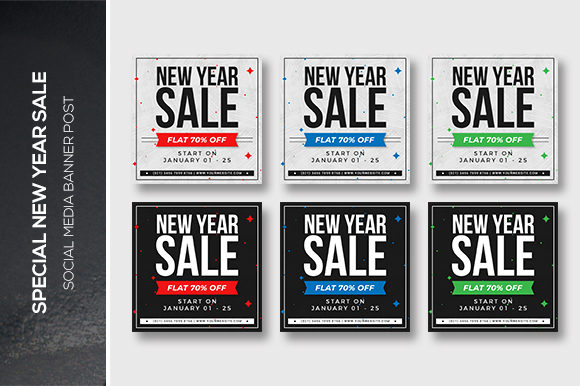 New Year Social Media Banner Post Graphic Web Templates By kdadan97