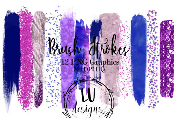 Purple Blue Pink Brush Strokes Clipart Graphic Objects By Lu Designs
