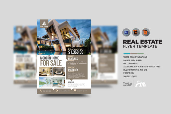 Download Free Real Estate Flyer Template Graphic By Aam360 Creative Fabrica for Cricut Explore, Silhouette and other cutting machines.