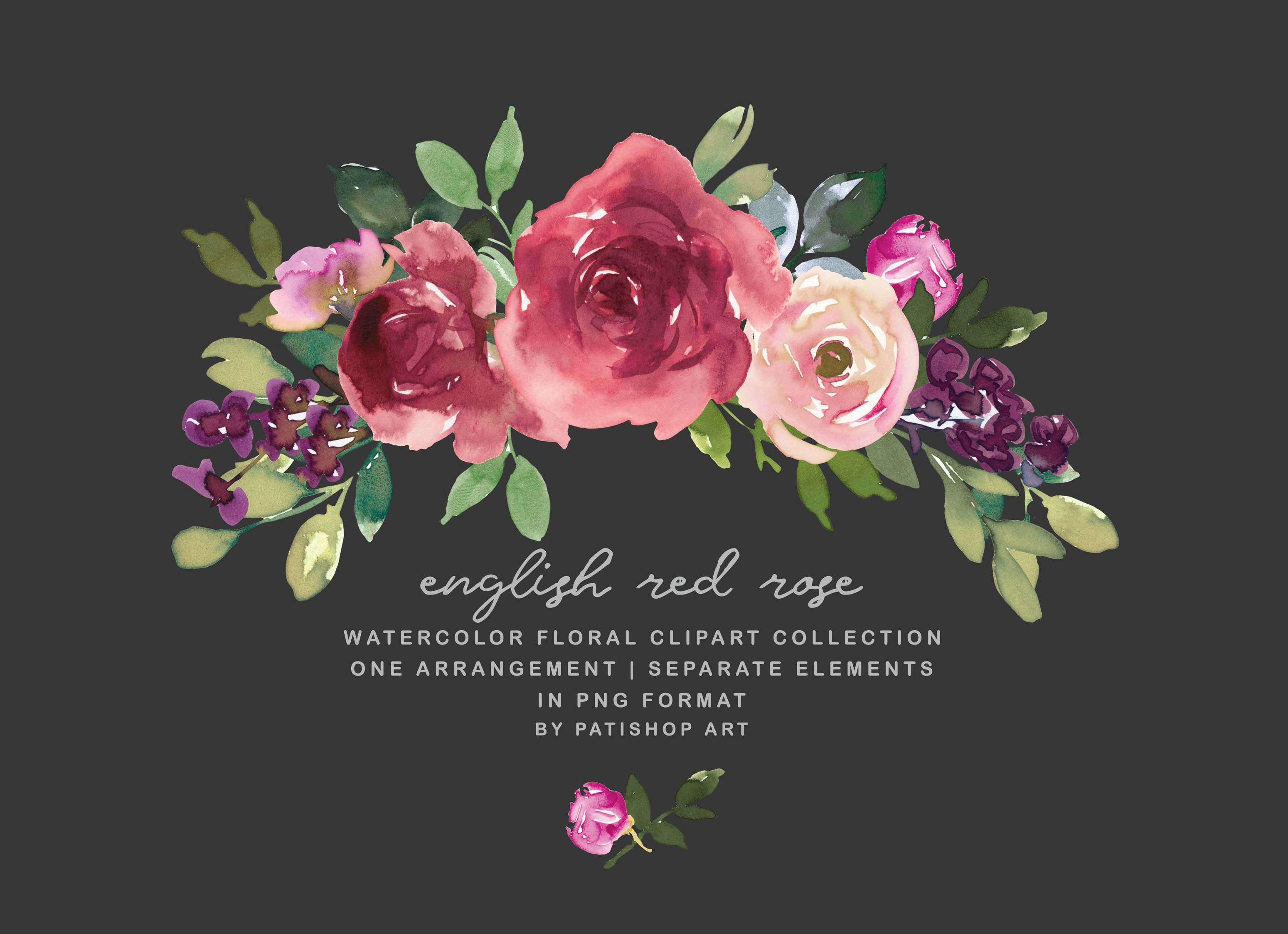 Download Free Red Rose Watercolor Floral Clipart Graphic By Patishop Art for Cricut Explore, Silhouette and other cutting machines.
