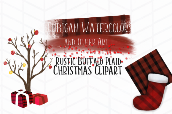 Print on Demand: Rustic Buffalo Plaid Christmas Grafik Illustrationen von Tubiganart