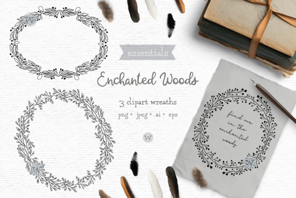 Print on Demand: Rustic Hand Drawn Clipart Wreaths Graphic Illustrations By Wallifyer