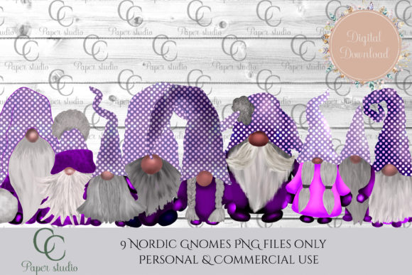 Print on Demand: Scandinavian Tomte Gnomes - Purple Polka Graphic Illustrations By CC Paper Studio