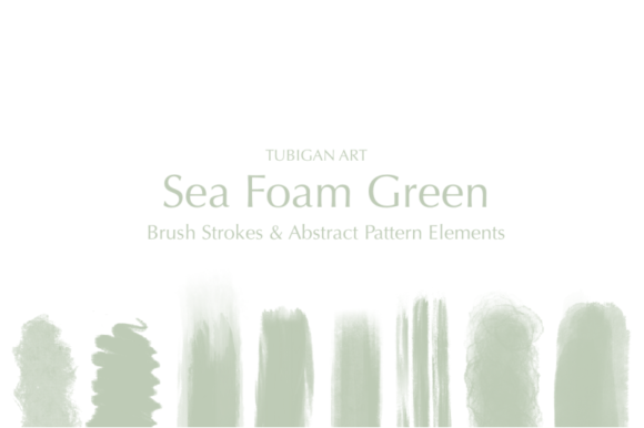 Print on Demand: Sea Foam Green Brush Strokes Graphic Illustrations By Tubiganart
