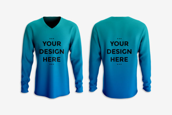 Showcase of Long Sleeves T-shirt Mockup Graphic Product Mockups By suedanstock