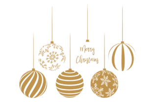 Print on Demand: Silver and White Christmas Baubles Graphic Print Templates By AM Digital Designs