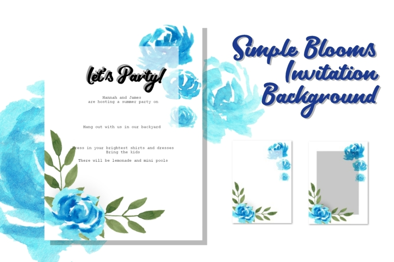 Simple Blooms Invitation Background (Graphic) by ...