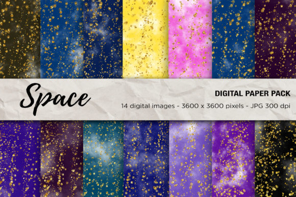 Space Digital Papers, Galaxy Background Graphic Backgrounds By mertakdere19 - Image 1