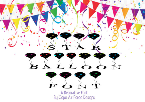 Print on Demand: Star Balloon Decorative Font By capeairforce - Image 1
