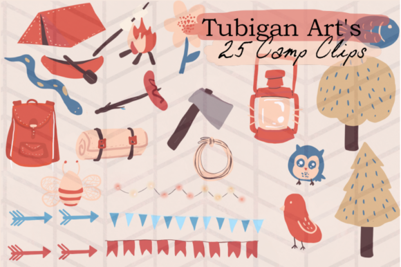 Print on Demand: Tubigan Art's Camp Clips Graphic Illustrations By Tubiganart