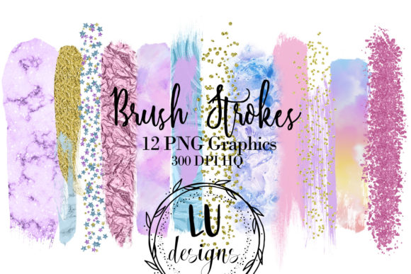 Unicorn Rainbow Paint Brush Strokes Graphic Objects By Lu Designs