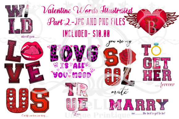 Valentine Words Illustrated Part 2 Graphic Illustrations By BellaUniquePrintique