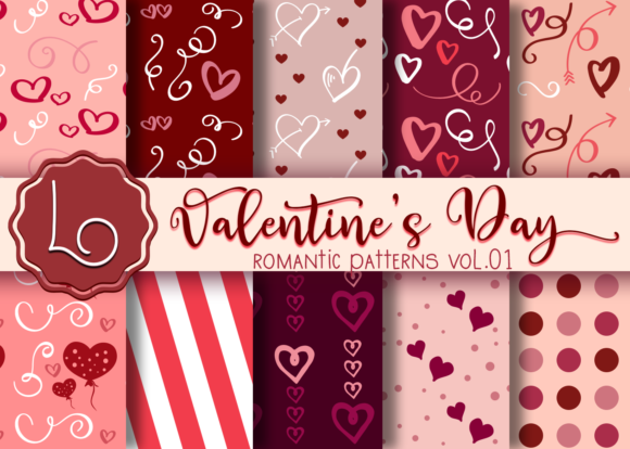 Print on Demand: Valentine's Day Romantic Patterns Vol 01 Graphic Patterns By La Oliveira - Image 1