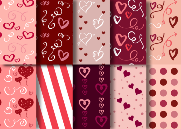 Print on Demand: Valentine's Day Romantic Patterns Vol 01 Graphic Patterns By La Oliveira - Image 2