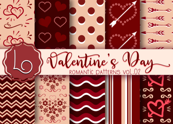 Download Free Valentine S Day Romantic Patterns Vol 02 Graphic By La Oliveira for Cricut Explore, Silhouette and other cutting machines.
