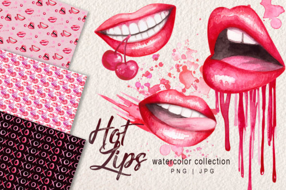 Watercolor Lips Collection Graphic Illustrations By Dapper Dudell