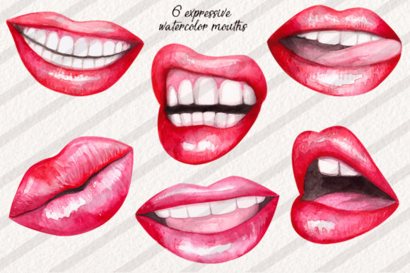 Watercolor Lips Collection Graphic Illustrations By Dapper Dudell - Image 2