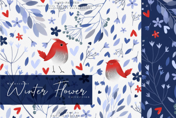 Print on Demand: Watercolor Winter Flower Collection Gráfico Ilustraciones Por 3Motional