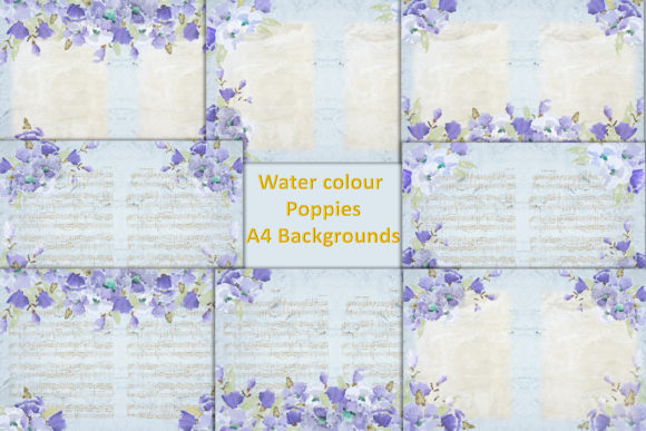 Print on Demand: Watercolour Poppy Backgrounds Graphic Backgrounds By The Paper Princess - Image 1