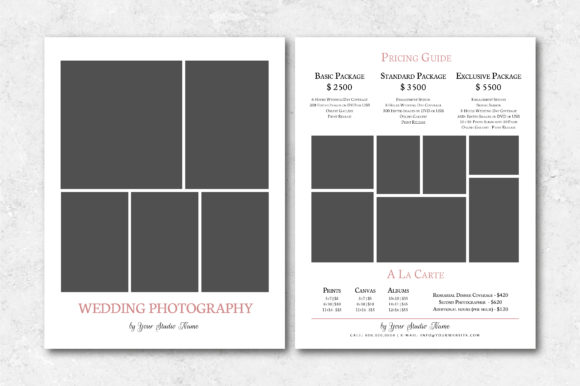 Download Free Wedding Photography Price List Template Graphic By Designcafeart for Cricut Explore, Silhouette and other cutting machines.
