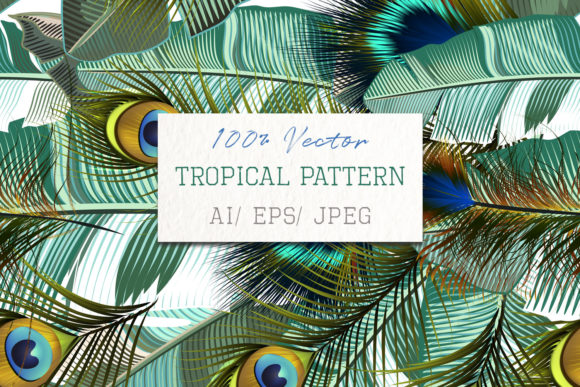 Fashion Tropical Pattern with Feathers Graphic Patterns By fleurartmariia
