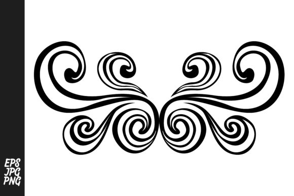 Print on Demand: Swirl Wing Ornament Vector Graphic Crafts By Arief Sapta Adjie - Image 1