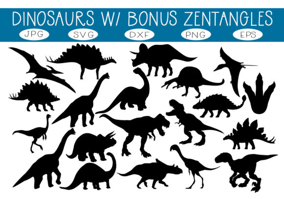 Print on Demand: 20 Dinosaurs & 5 Dinosaur Zentangles Graphic Illustrations By capeairforce - Image 1