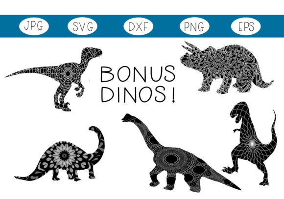 Print on Demand: 20 Dinosaurs & 5 Dinosaur Zentangles Graphic Illustrations By capeairforce - Image 2