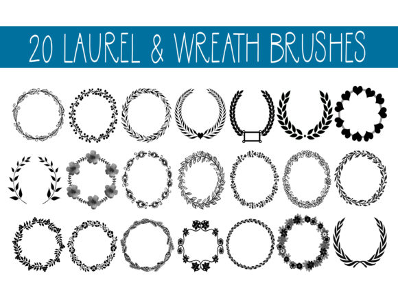 Print on Demand: 20 Laurel & Wreath Brushes Graphic Brushes By CapeAirForce - Image 1