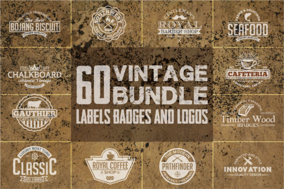Print on Demand: 60 Vintage Bundle Labels Badges & Logos Graphic Logos By shazdesigner