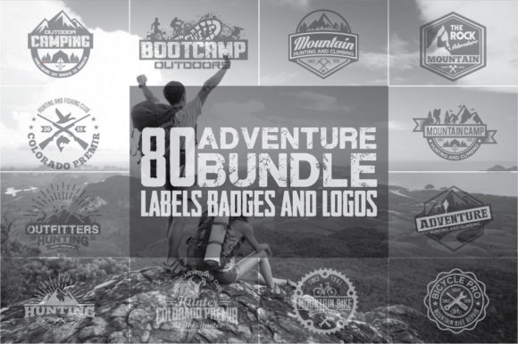 80 Adventure Badges and Logo Bundle Graphic Logos By shazdesigner