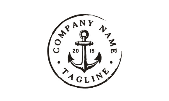 Print on Demand: Anchor Rustic Vintage Retro Stamp Logo Graphic Logos By Enola99d