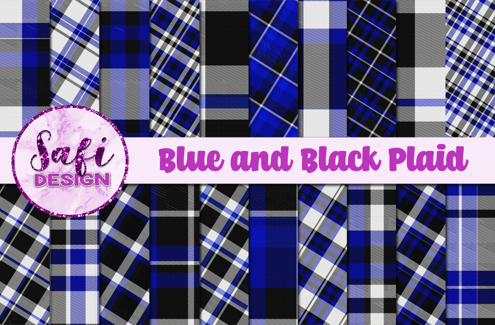 Download Free Blue And Black Plaid Backgrounds Graphic By Safi Designs for Cricut Explore, Silhouette and other cutting machines.