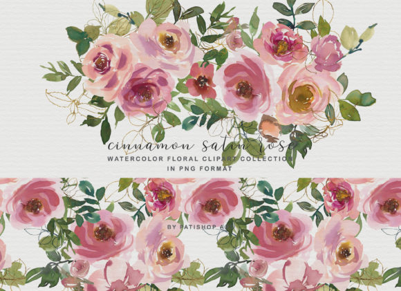 Blush Peach Watercolor Floral Clipart Se Gráfico Ilustraciones Por Patishop Art