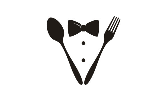 Print on Demand: Bow Tie Suit Spoon Fork Knife Restaurant Graphic Logos By Enola99d