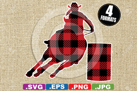 Buffalo Plaid Barrel Racer Silhouette Graphic Illustrations By iDrawSilhouettes