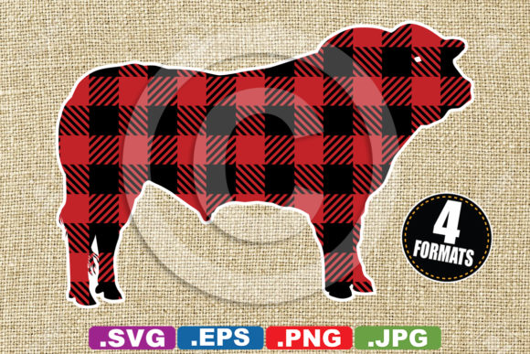 Buffalo Plaid Bull Silhouette Graphic Illustrations By iDrawSilhouettes