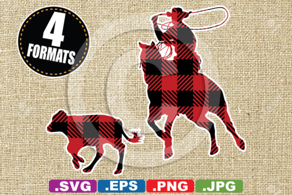 Buffalo Plaid Calf Roping Silhouette Graphic Illustrations By iDrawSilhouettes