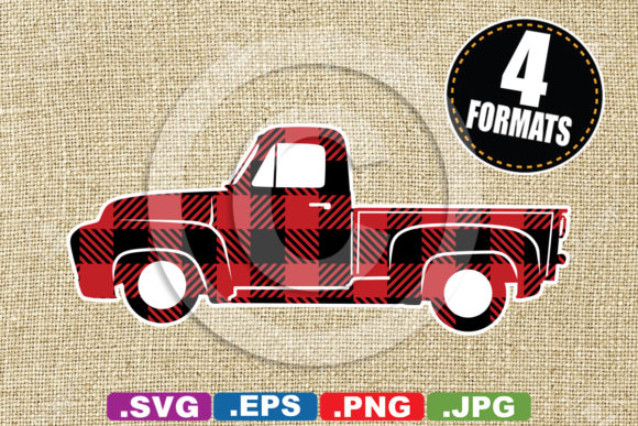 Buffalo Plaid Classic Pickup Truck Graphic Illustrations By iDrawSilhouettes