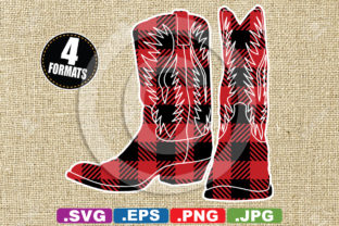 Download Free Buffalo Plaid Cowboy Boots Silhouette Graphic By for Cricut Explore, Silhouette and other cutting machines.