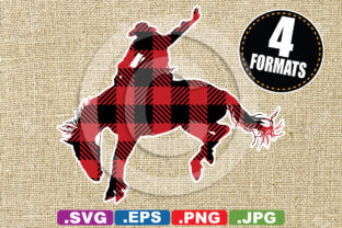 Download Free Buffalo Plaid Rodeo Bronc Rider Graphic By Idrawsilhouettes for Cricut Explore, Silhouette and other cutting machines.