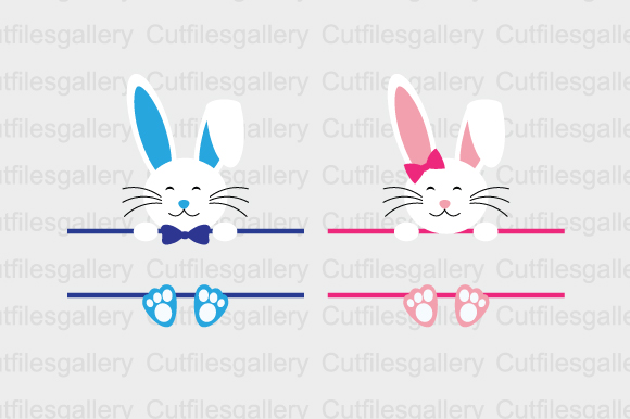 Download Free Bunny Split Monogram Svg Graphic By Cutfilesgallery Creative for Cricut Explore, Silhouette and other cutting machines.