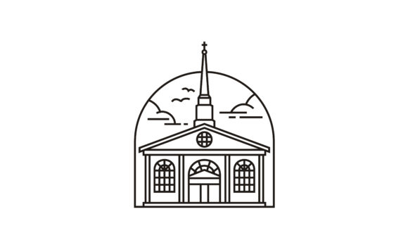 Download Free Christian Church Building Line Logo Graphic By Enola99d for Cricut Explore, Silhouette and other cutting machines.