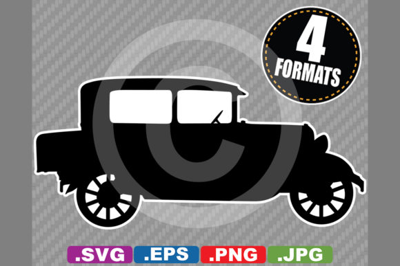 Download Free Classic Antique 1928 Car Silhouette Graphic By for Cricut Explore, Silhouette and other cutting machines.