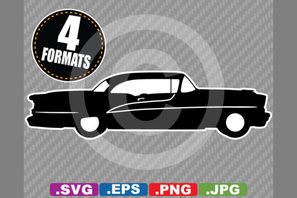 Download Free Classic Antique 1955 Car Silhouette Graphic By for Cricut Explore, Silhouette and other cutting machines.