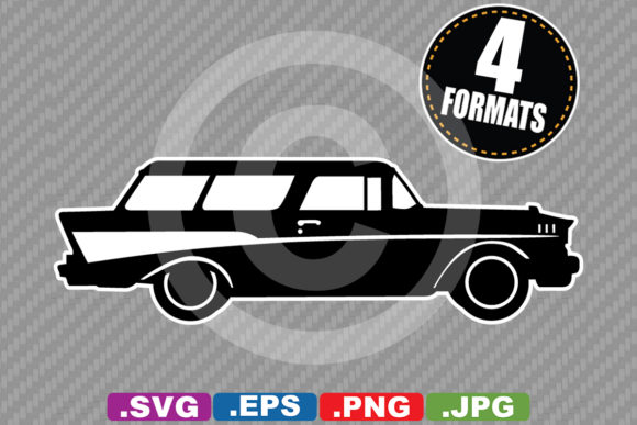 Classic / Antique 1957 Car Silhouette Graphic Illustrations By iDrawSilhouettes