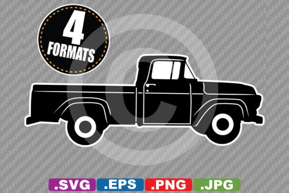 Classic / Antique 1957 Pickup Silhouette Graphic Illustrations By iDrawSilhouettes