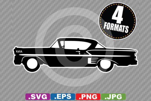 Classic / Antique 1958 Car Silhouette Graphic Illustrations By iDrawSilhouettes